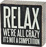 Primitive Home Decor Primitives by Kathy Box Sign, 5-Inch by 5-Inch, We're All Crazy