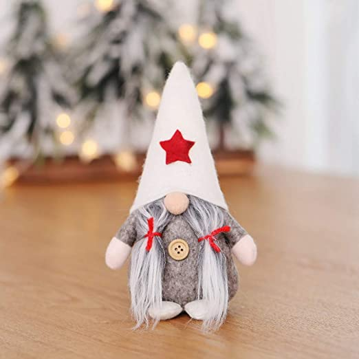 Christmas Swedish Gnome Santa Plush Doll W// LED Light Ornament Xmas Home Decor