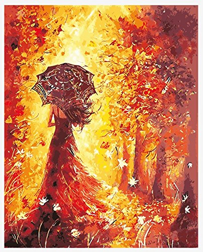 Morgofun DIY Painting Paint by Numbers Kits, Paint by Numbers for Adults Romantic Girl Walking Under the Trees with Brushes Canvas 16x20inch