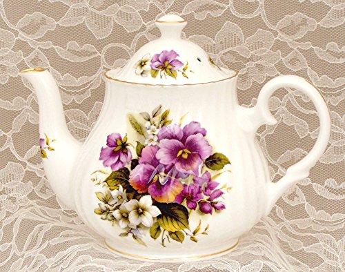 """""""PURPLE PANSY"""" Small 2 Cup Teapot - Fine English Bone China"""