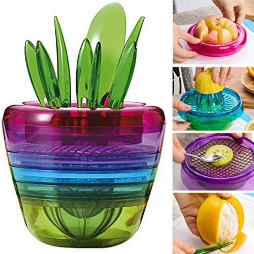 OLizee™ Creative Fruits Plant Multi Kitchen Tool Set of 10 Apple Cutter Avocado Scoop Fruit Slicer Cutter Mesh Lemon Squeezer