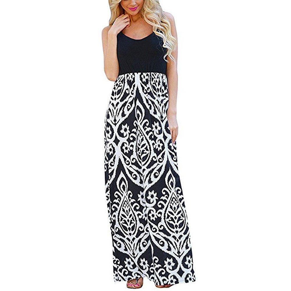JESPER Women Print Tank Maxi Dress Pocket Sleeveless Casual Summer Long Maxi Tunic Dress Black