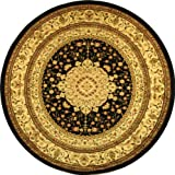 "Safavieh Lyndhurst Collection LNH213A Black and Ivory Round Area Rug, 5 feet 3 inches in Diameter (5'3"" Diameter)"