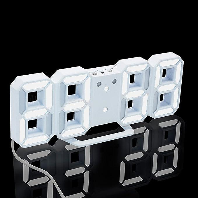 Webla Horloge Num/érique /À LED Num/érique Moderne /À LED Table De Bureau Nuit Horloge Murale Montre-R/éveil Affichage 24 Ou 12 Heures