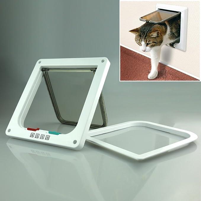 Puerta Magnetica(23*25*5.5cm), OIZEN 4-Modo puerta Bloqueable de Aleta para Gato Perrito Mascota Seguridad(L- Blanco): Amazon.es: Hogar