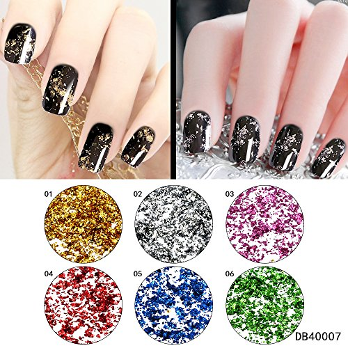 QIMYAR Gold Silver Glitter Aluminum Flakes Acrylic Nail Sequins Magic Mirror Effect Chrome Pigment Decorations 6 Colors