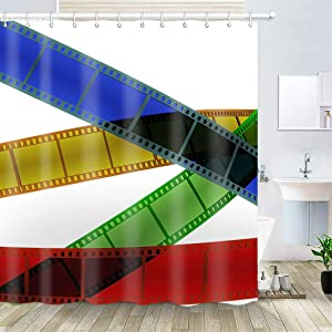OiArt Shower Curtain, Polyester Fabric Waterproof Hooks Included-72x72 inches- Filmstrip Cinema Background Template 3D Blender
