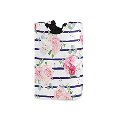 One Bear Flower Laundry Basket Beautiful Red And Pink Roses Peony Camellia Navy Blue White Stripes Foldable Large Laundry Hamper Bucket with Handles Collapsible Nursery Storage Bin for Kids Clothes To: Home & Kitchen