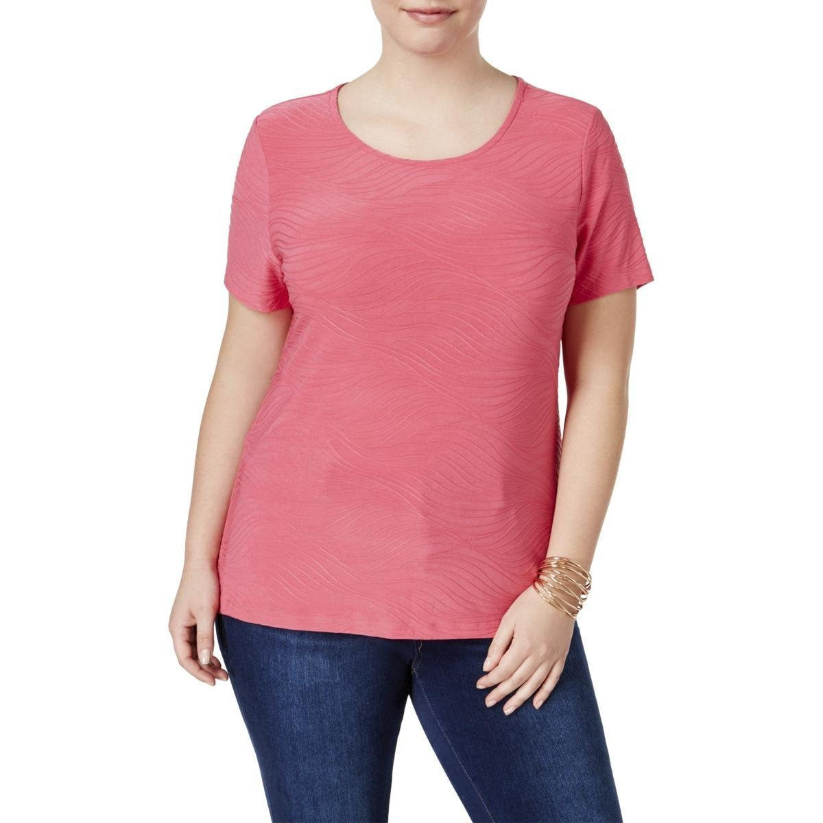 JM Collection Womens Plus Jacquard Textured Casual Top Pink 0X