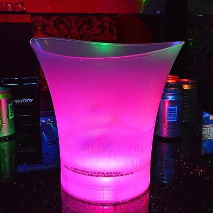 Hanone Secchiello per Il Ghiaccio a LED in plastica Impermeabile 5L Luminious Cool KTV Bars Night Party Yellow