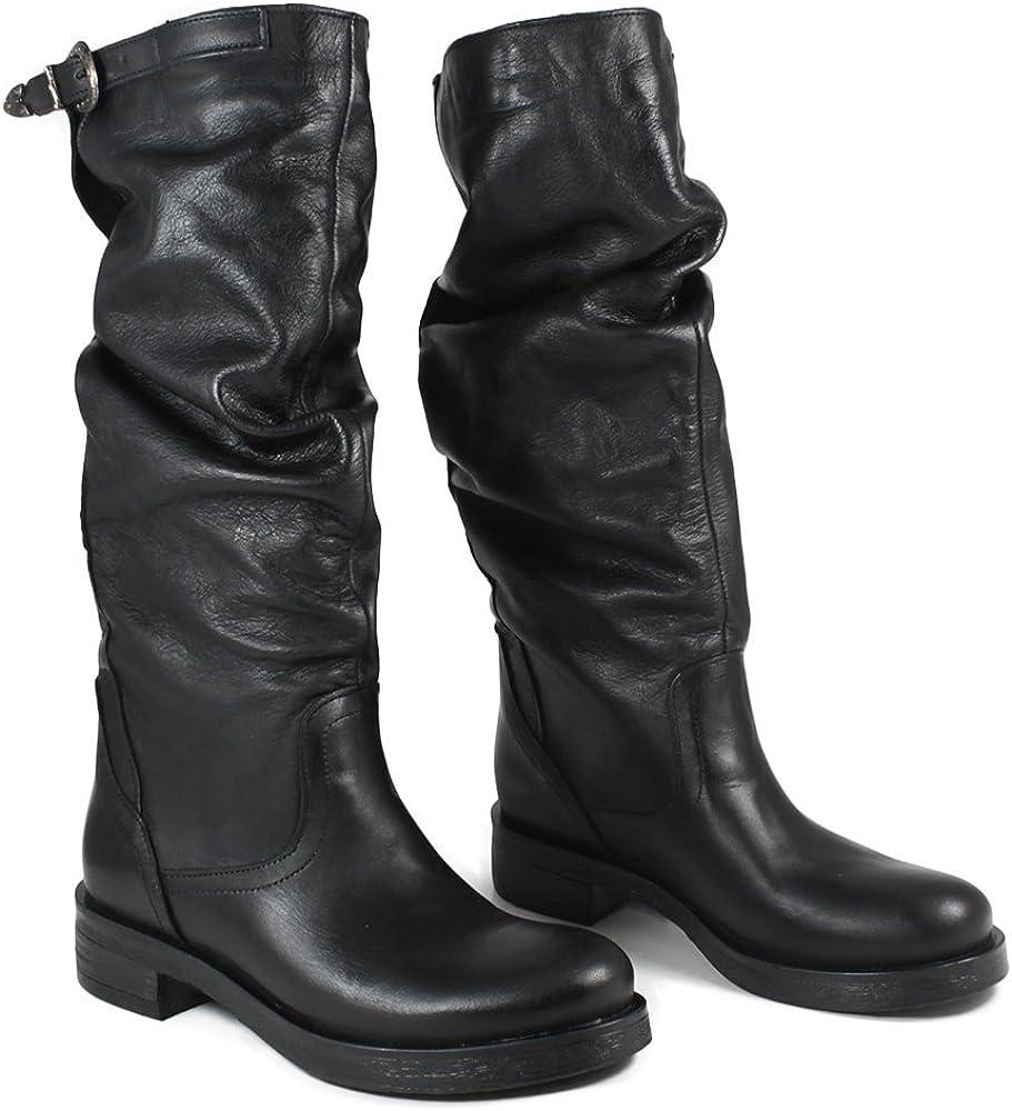 In Time Stivali Biker Boots Alti Donna 0285 Nero Arricciati