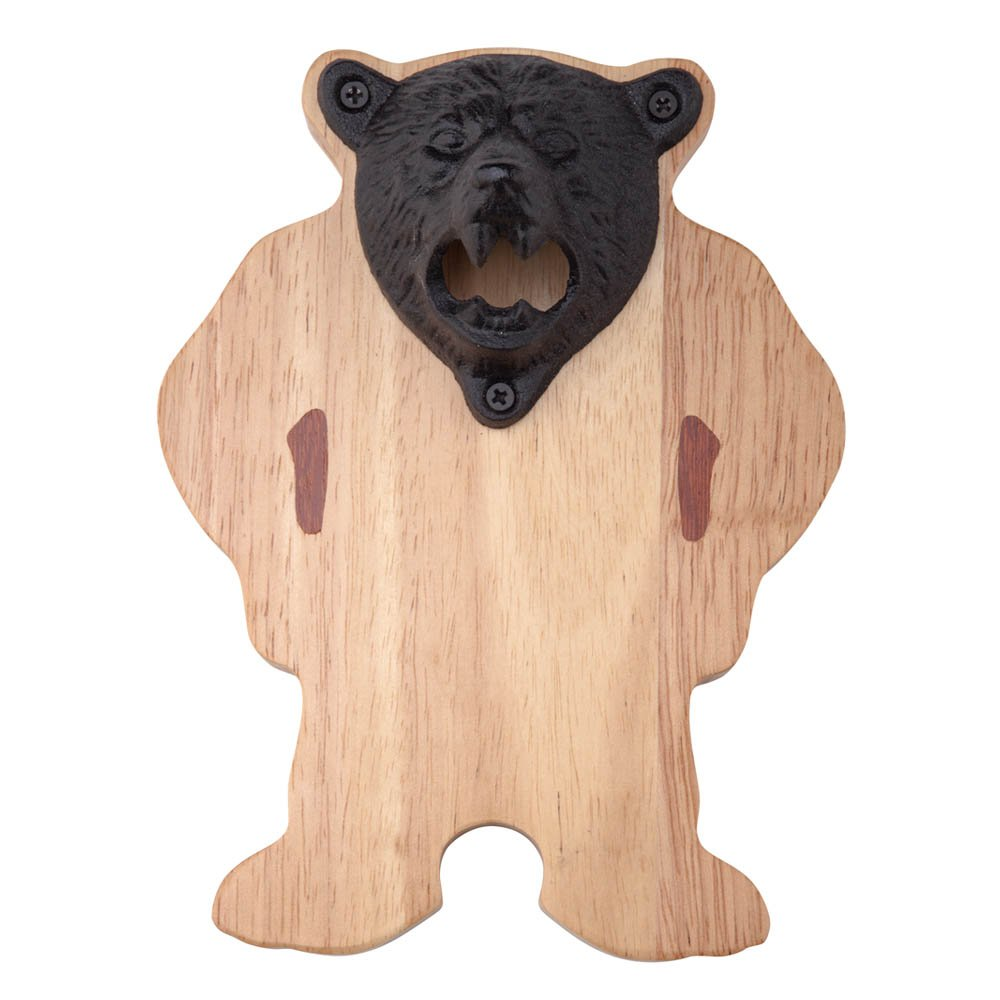 ILEAF Magnetic Cast Iron Grizzly Bear Teeth Bite Bottle Opener and Cap Catcher, Ideal for Refrigerator Home Bar Kitchen or Man Cave