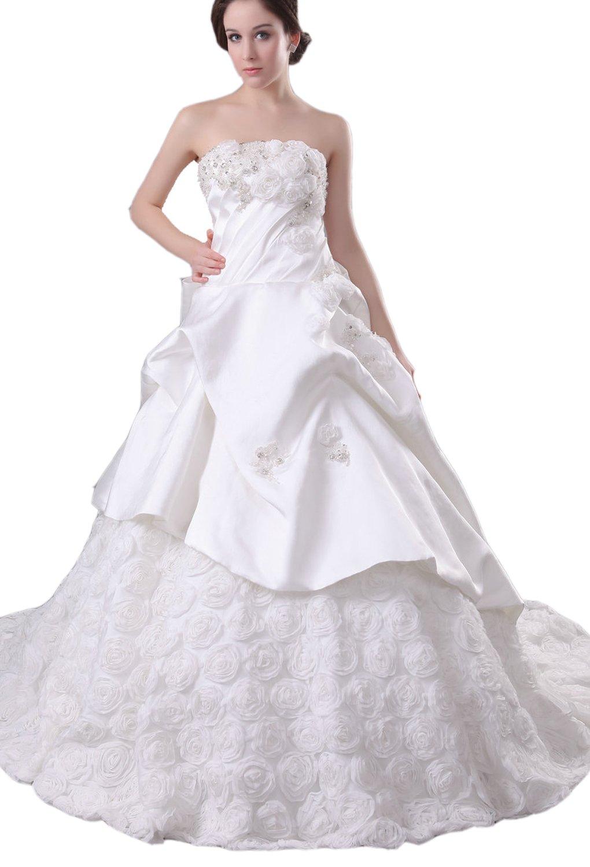 Albizia Women's Luxurious Empire Floor-length Wedding Dress