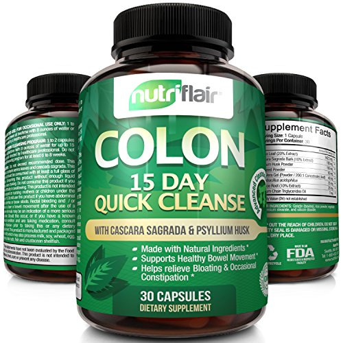 NutriFlair® 15 Day Quick Colon Cleanse, 30 Capsules - Advanced Cleansing Formula Pills: Supports Weight Loss, Healthy Bowel Movement, Detox, Increased Energy Levels Super Active 30 Pills
