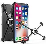 OATSBASF iphone x 対応 バンパー アルミ ブラック iPhoneX用 ケース リング付き 衝撃 吸収 アイフォン10対応 メタルフレーム [二重保護] スタンド機能(iPhone X用, 黒1)