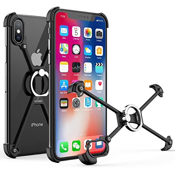 reputable site c4f42 aff5d OATSBASF Bumper Case for iPhone Xs Max, Aluminum Metal X-Frame Bumpers with  Ring & Screw