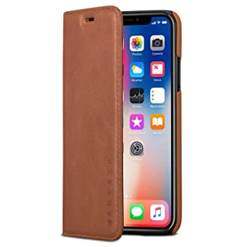 KANVASA Funda iPhone XS/Case iPhone X Tipo Libro Piel Marrón Cover Carcasa Plegable Cartera Pro en Piel Auténtica Premium para Apple iPhone XS/X / 10S ...