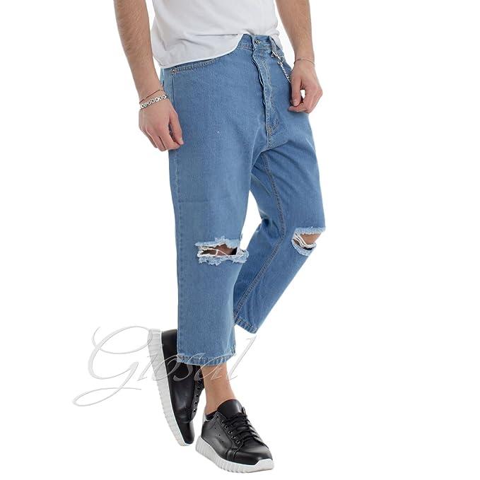 c9ff186926e042 Giosal Pantalone Uomo Pinocchietto Jeans Rotture Catena Casual P1681A-48:  Amazon.it: Abbigliamento