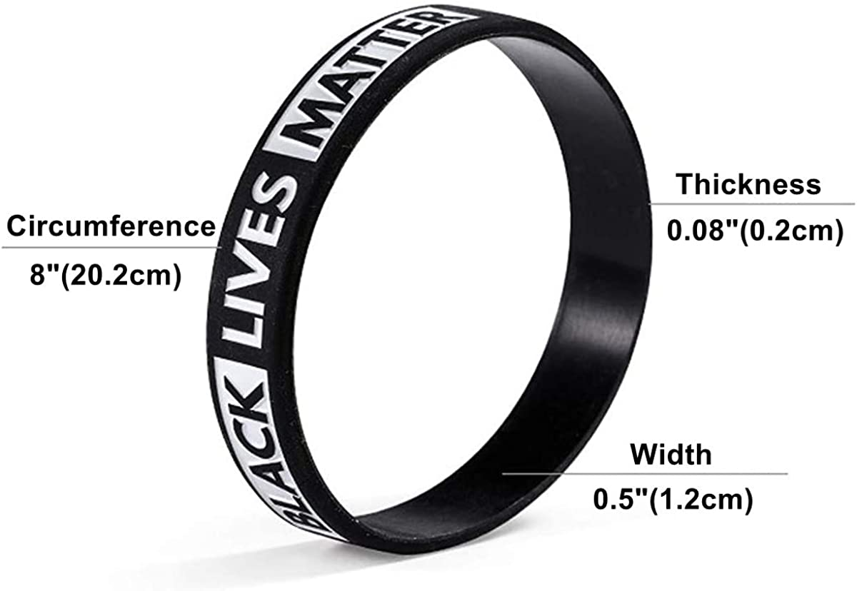 4 Styles of Black Lives Matter Silicone Wristbands BLM Movement Bracelets Awareness Support Wristband Gifts for Men Ladies Teens