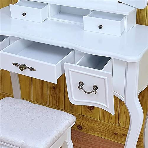 Cozywind Tri-Fold Mirror Dressing Table with Dressing Stool Vintage Makeup Dressing Table with Folding Mirror and 5 Drawers White