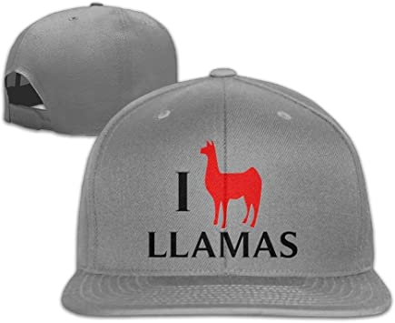 Xukmefat Gorra de béisbol con Visera Plana I Love Llamas, Gorro ...