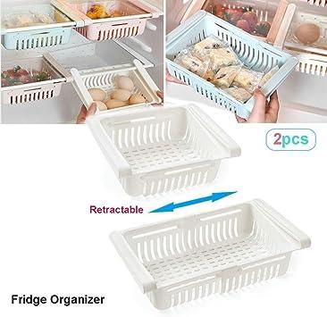 Caja de almacenamiento Caja de almacenamiento frigorífico retráctil cajón de la cocina refrigerador de almacenamiento de contenedores de plástico en rack cesta refrigerador Alimentos separador (2 PCS): Amazon.es: Bricolaje y herramientas