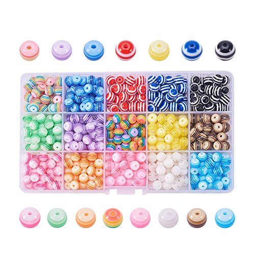 (PandaHall Elite 450 Pcs 8mm Acrylic Resin Bead Round Stripe Pebbles Beads for Jewelry Making Mixed Color)