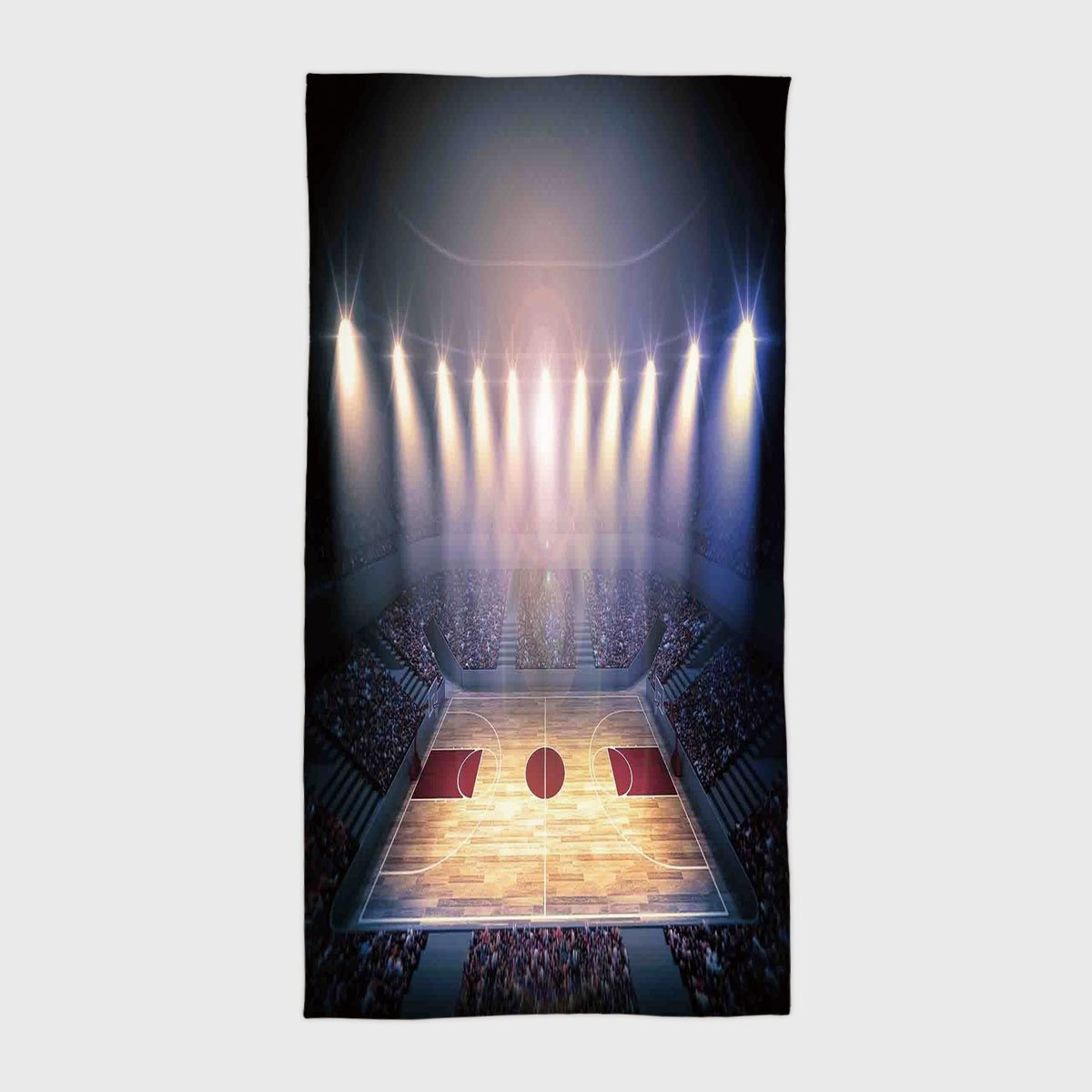 iPrint Cotton Microfiber Hotel SPA Beach Pool Bath Hand Towel,Basketball,Crowded Basketball Arena Just Before Game Starts School Tournament Theme,Beige Nacy Brown,for Kids, Teens, and Adults