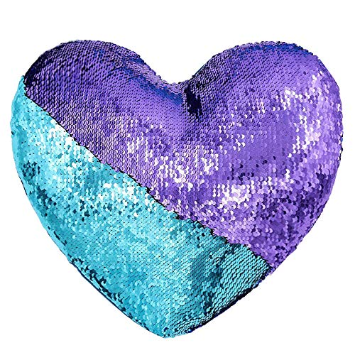Heart Shape Sequin Pillow with Insert Mermaid Reversible Color Change Throw Shiny Two Color Flip Cushion Magic Write On Girls Gift Bolster for Sofa Couch Bedroom Car 14 x 15.5,Turquoise and Purple
