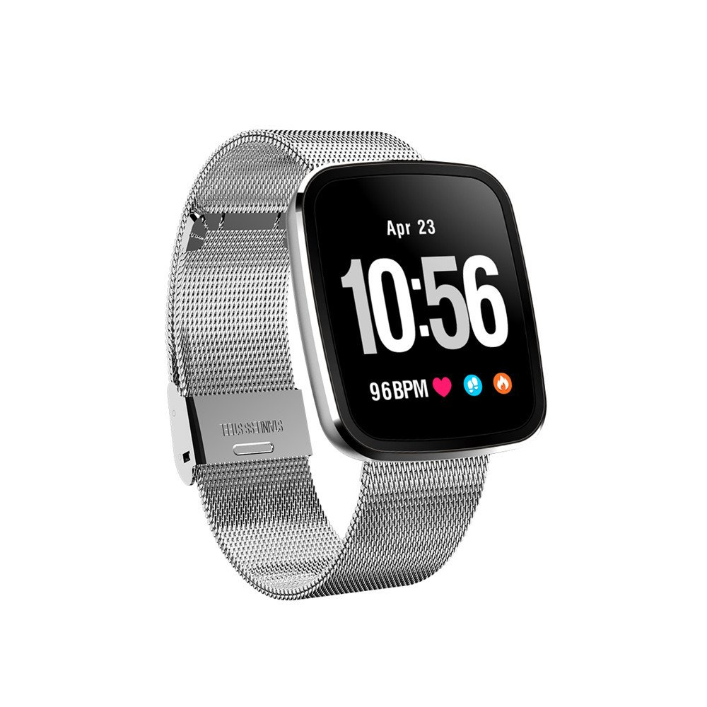 TechCode Smart Activity Watch, Bluetooth Smart Watch Heart Rate Monitor Pedometer Notification Sync Wristband Fitness Tracking Bracelet Compatible with Android IOS Phones for Kids Woman Man(Silver)