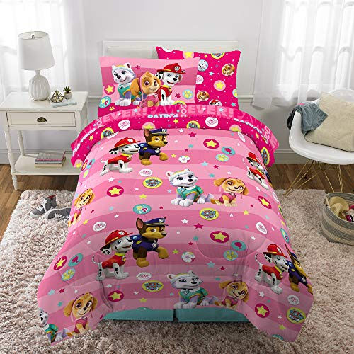 Franco Kids Bedding Super Soft Comforter and Sheet Set with Bonus Sham, 5 Piece Twin Size, Paw Patrol Pink (Twin Size Toddler Girl Bedding)