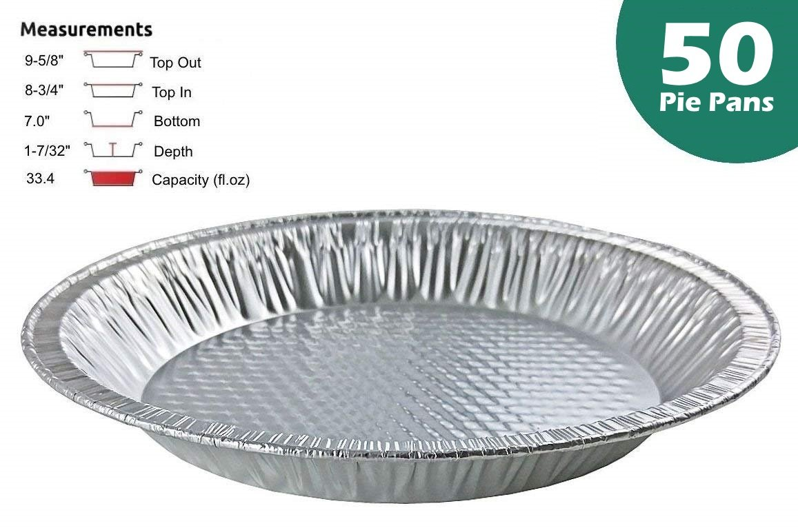 Handi-Foil 10'' (Actual Top-Out 9-5/8 Inches - Top-In 8-3/4 Inches) Aluminum Foil Pie Pan - Disposable Baking Tin Plates (50)