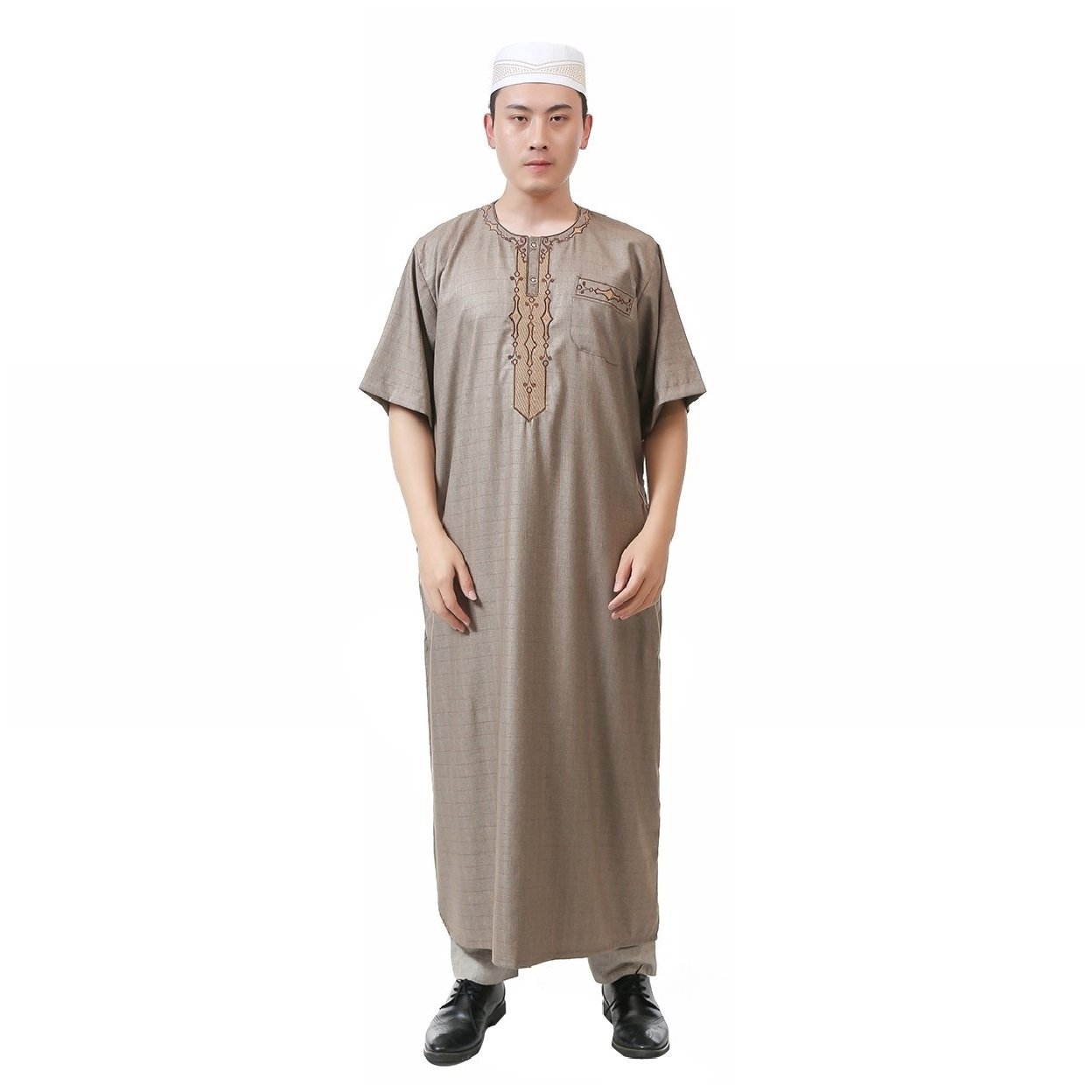 Tootless Mens Embroidered Short Sleeve Islamic Summer Arab Muslim Thobe Khaki 56