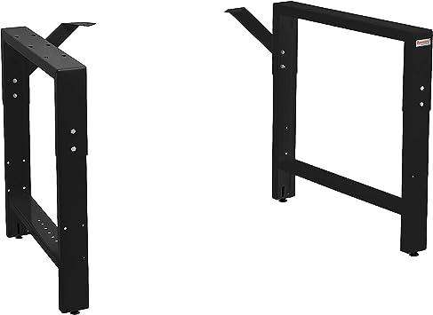 vidaXL 2X Adjustable Work Bench Frames Furniture Work Coffee Dining Table Industrial Leg Bracket Easy Attach Home Workspace Metal Black