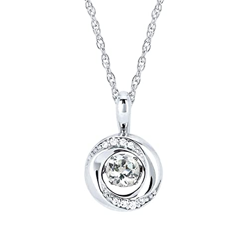 Brilliance in Motion .925 Sterling Silver 1 5 Carat Dancing Birthstone Diamond Accent Knot Circle Pendant Necklace, 18 3 8 Tgw, 0.03 Cttw.