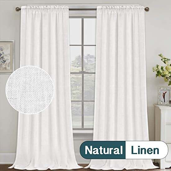 Natural Linen Curtains 108 Inches Extra Long Rod Pocket Semi Sheer Curtain Drapes Elegant Casual Linen Textured Window Draperies, Light Filtering Privacy Added Home Fashion 2 Panels, Pure White