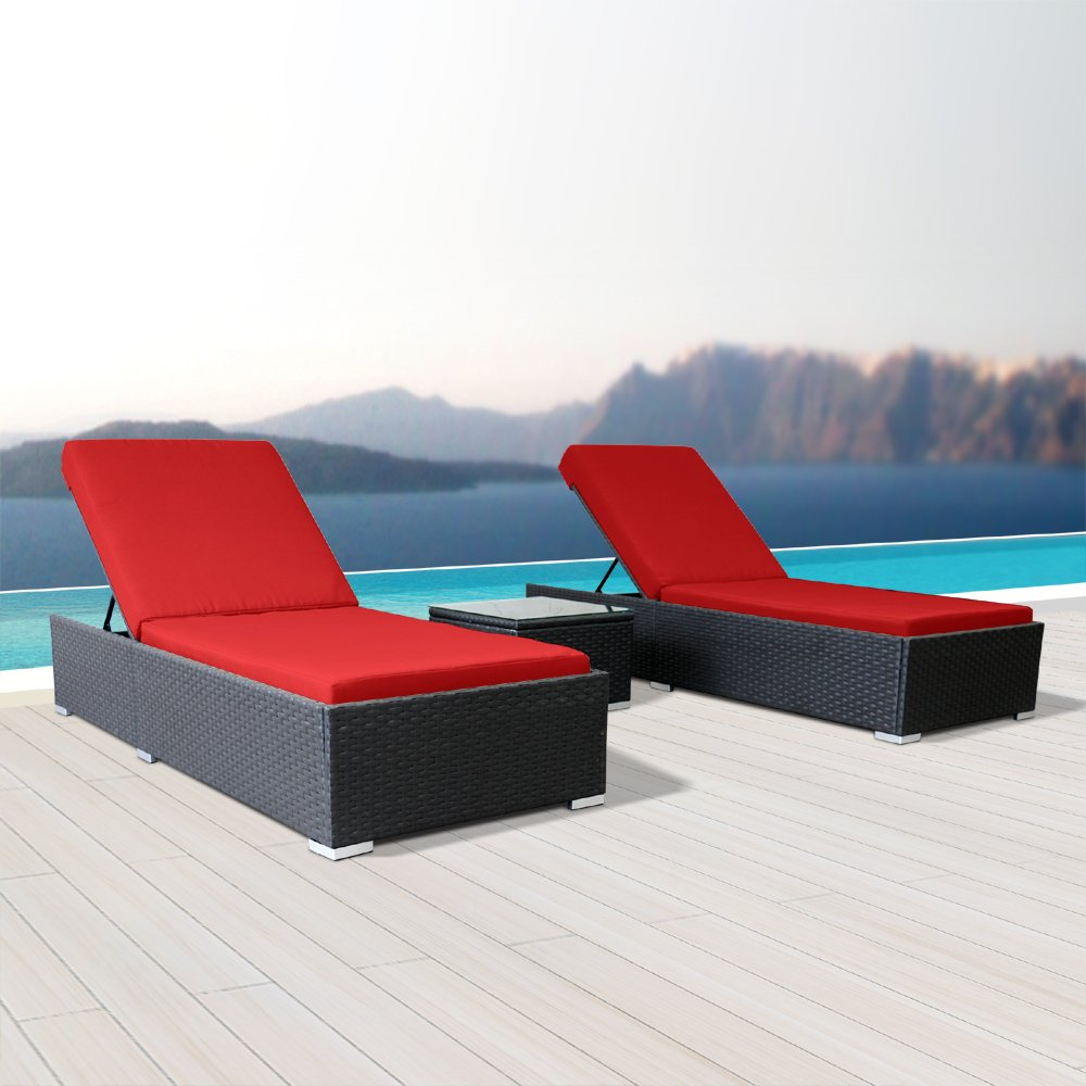 Modenzi 3Pcs Lounger Outdoor Sectional Patio Furniture Espresso Brown Wicker Sofa Set (Red) by Modenzi