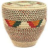 Fair Trade Nubian African Canister Lidded Basket 14-15 Across, 47801