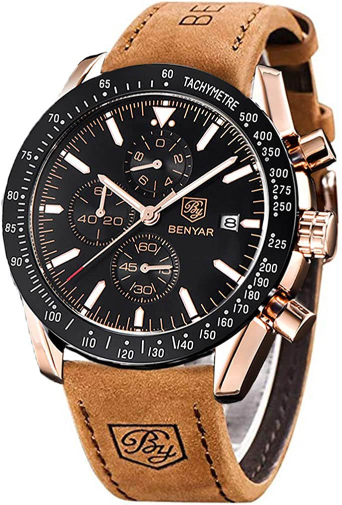 BENYAR Waterproof Chronograph Men Watches Fashion Casual Leather Band Strap Wrist Watch