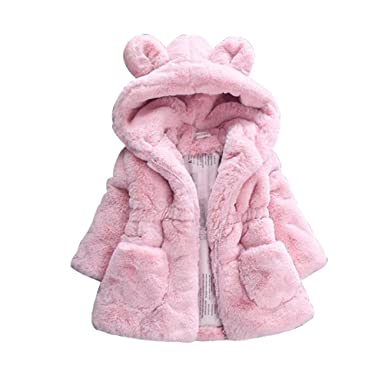 f3bb028fcfce CADong Baby Girls Kids Hooded Rabbit Coat Faux Fur Warm Jackets ...