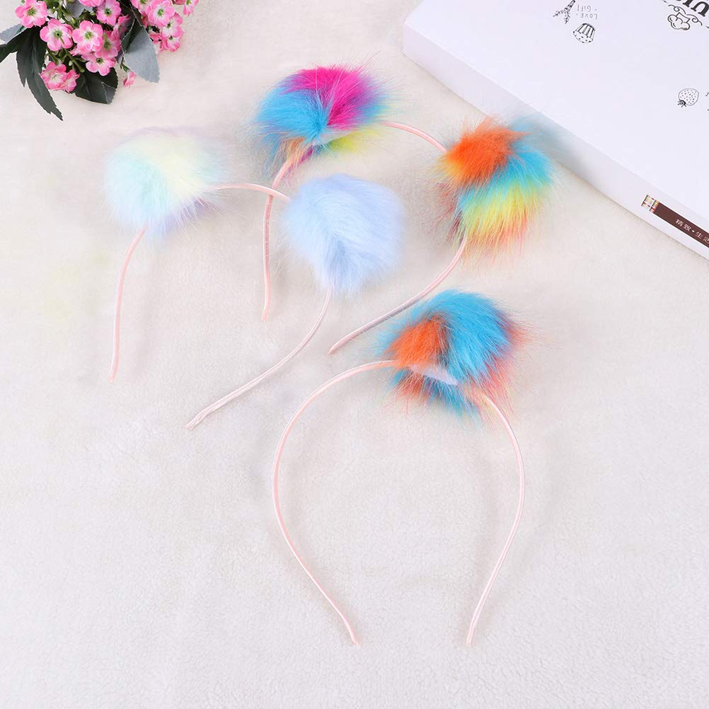 bunt Amosfun Pompon Hair Hoops Pom Pom Stirnband f/ür M/ädchen Frauen Maskerade Talent Show Party