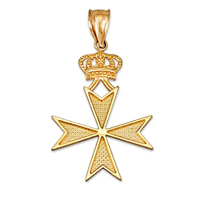 10k yellow gold maltese cross royal crown pendant amazon 10k yellow gold maltese cross royal crown pendant aloadofball Image collections