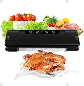Vacuum Sealer, Automatic Food Vacuum Sealer System, Dry & Wet Kitchen Food Preservation Plastic Bag Sealer, LED Light Indicator Compact Design Food Sealer