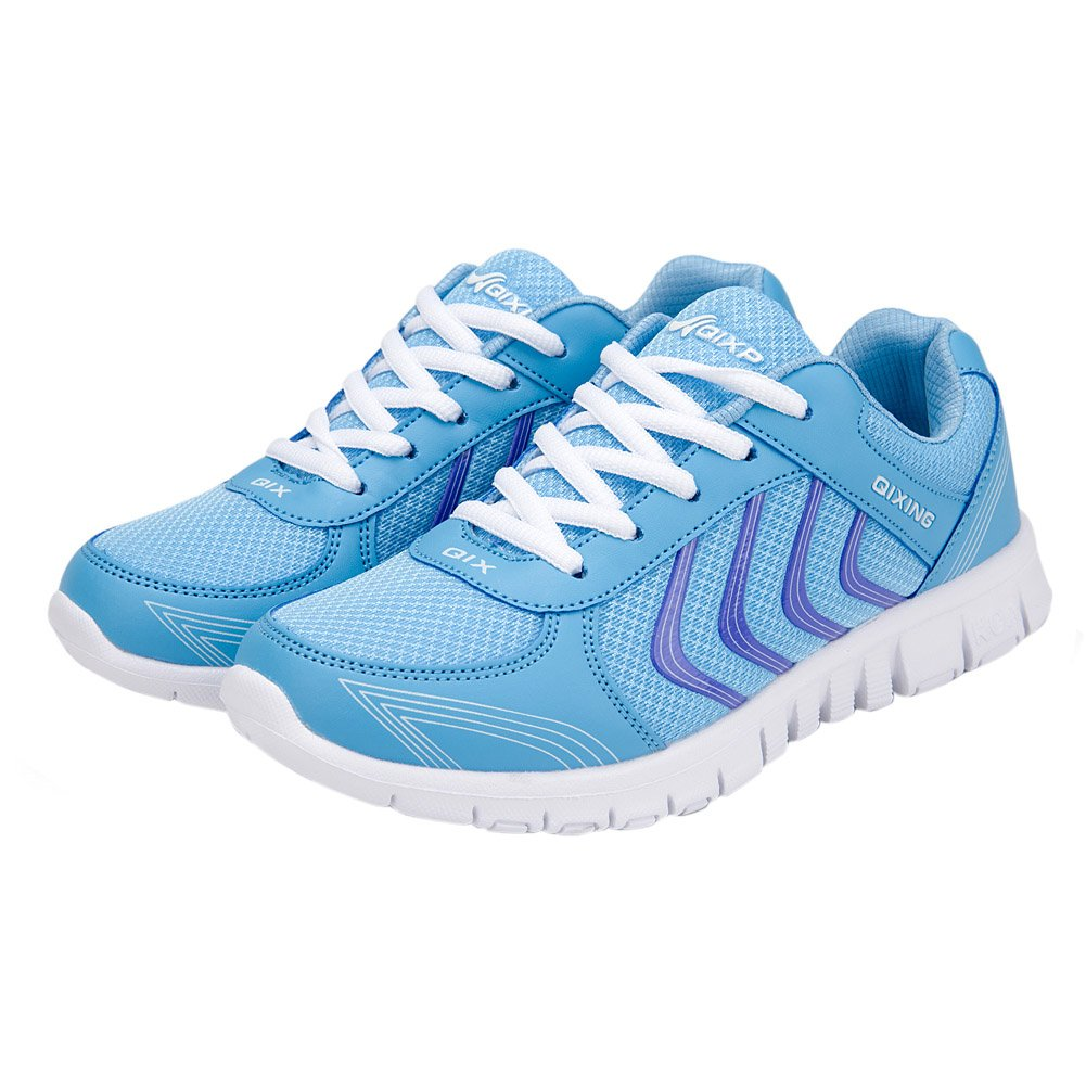 bluee Alicegana Women's Breathable Mesh Tennis Athletic Fashion Sneakers Walking Sports Road Running shoes Plus Size
