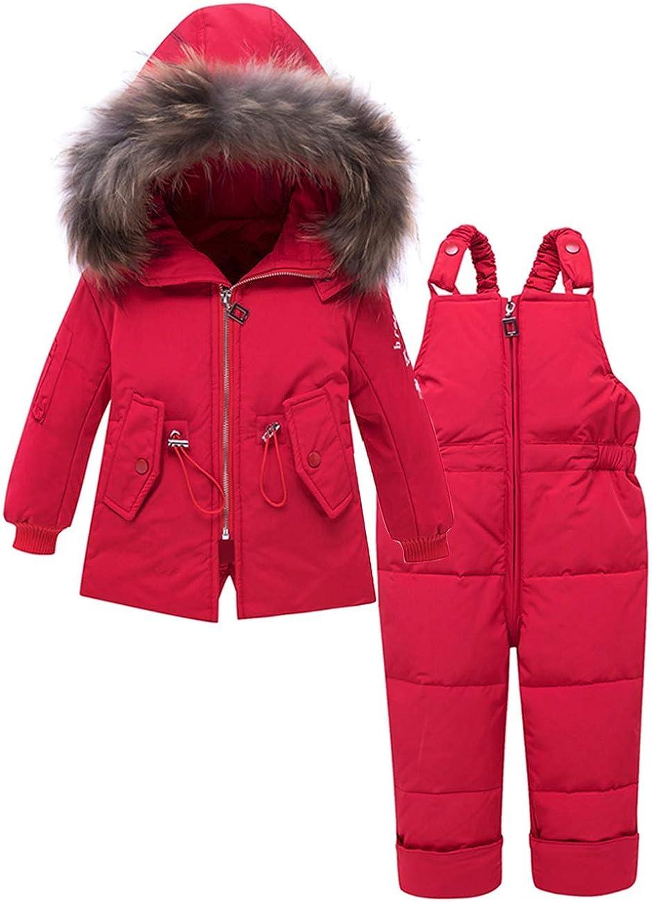 Pantaloni Set da Sci 2 Pezzi Zoerea Tuta da Neve per Bambini Bambina Giacca Invernale Piumino con Cappuccio Caldo Cappotto per Bambino
