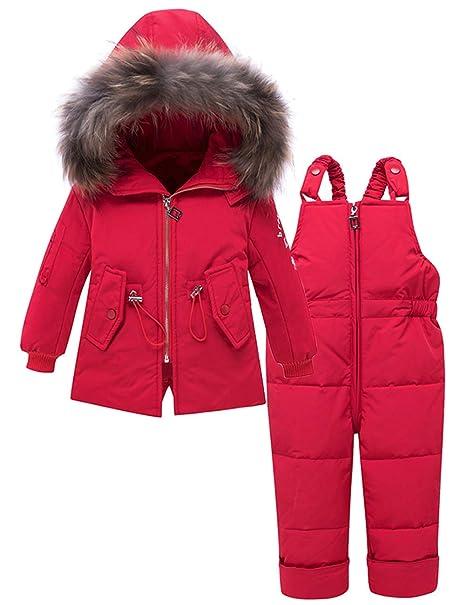 ZOEREA Bebé Niña Chaqueta de Esquí Invierno Conjuntos de Ropa Niñas Traje de Nieve Plumón Abrigo con Capucha y Pantalones 2 Piezas