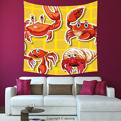 House Decor Square Tapestry-Crabs Decor Stickers Of Four Different Crabs Ilustration Cartoon Style Print Earth Yellow And Orange_Wall Hanging For Bedroom Living Room Dorm
