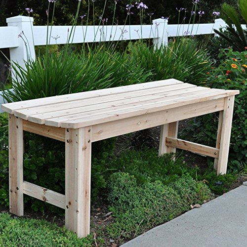 """S.Company Outdoor Garden Bench Wooden Backless Seat Furniture 48"""" L in Natural Finish"""