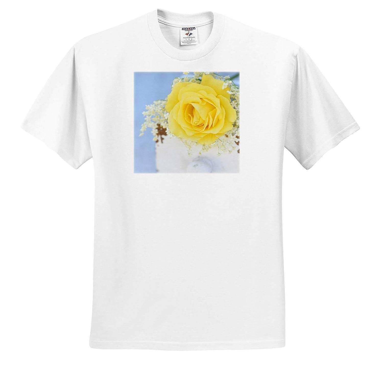 3dRose Uta Naumann Photography Stilllife Photography T-Shirts Romantic Yellow Rose Flower Blossom in White Wood Box