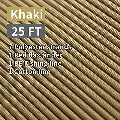 PSKOOK Paracord Survival Cord con l/ínea de Pesca de yesca Encerada Hilo de algod/ón Al Aire Libre Grado Comercial Trenzado Cuerdas de Cable de paraca/ídas de Fuego